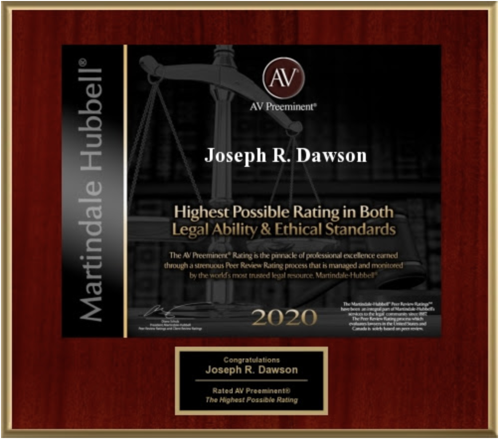 The AV Preeminent Rating 2020 - Highest Possible Rating in Both Legal Ability & Ethical Standards