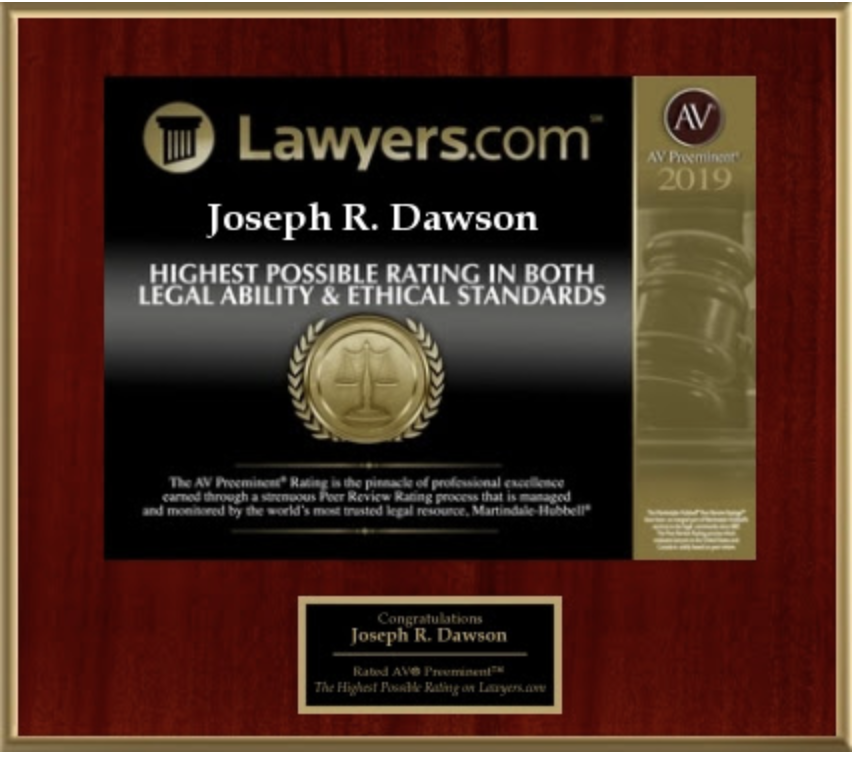 The AV Preeminent Rating 2019 - Highest Possible Rating in Both Legal Ability & Ethical Standards